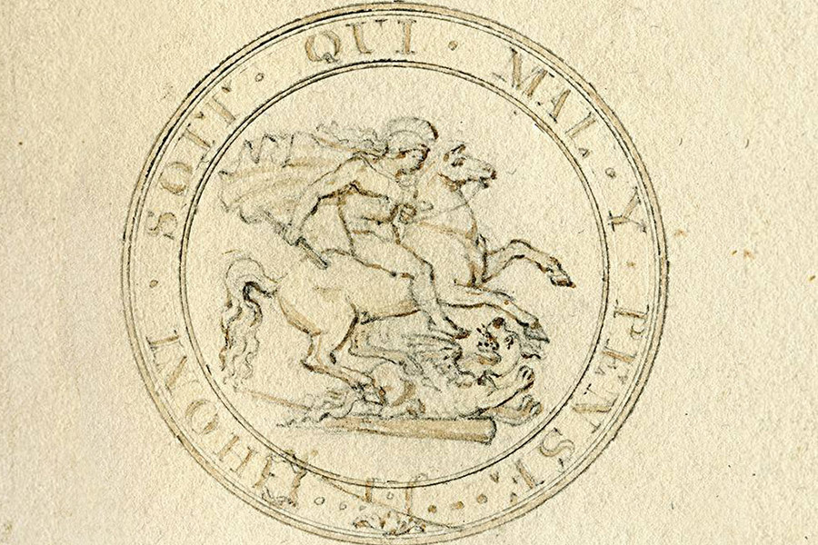 The Saint George and the Dragon design by Benedetto Pistrucci