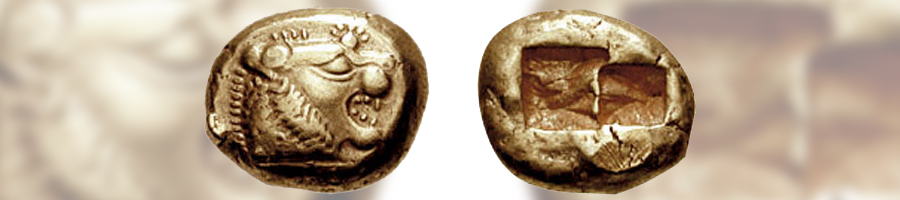 A Lydian 1/3 Stater coin, made from electrum, circa 610-560 BCE.