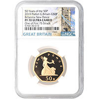 50 Years of the 50p : 2019 Piedfort PF70 Ultra Cameo Reverse @200 Resolution