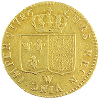 1786 FRANCE Gold Louis D'or : Lille mint
