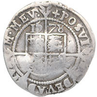 1578 Elizabeth I Hammered Silver Threepence mm 'Greek cross' Reverse @200