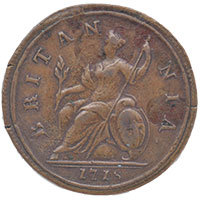 1718 George I Copper Halfpenny