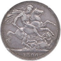 1896 Queen Victoria Silver Crown LX Reverse