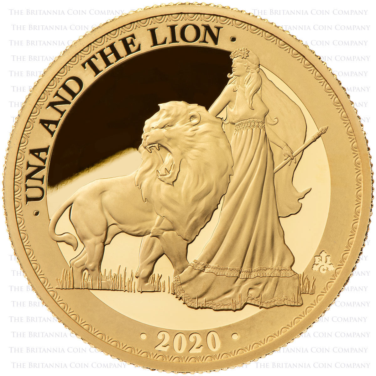 2020 Una and the Lion 1oz gold proof reverse